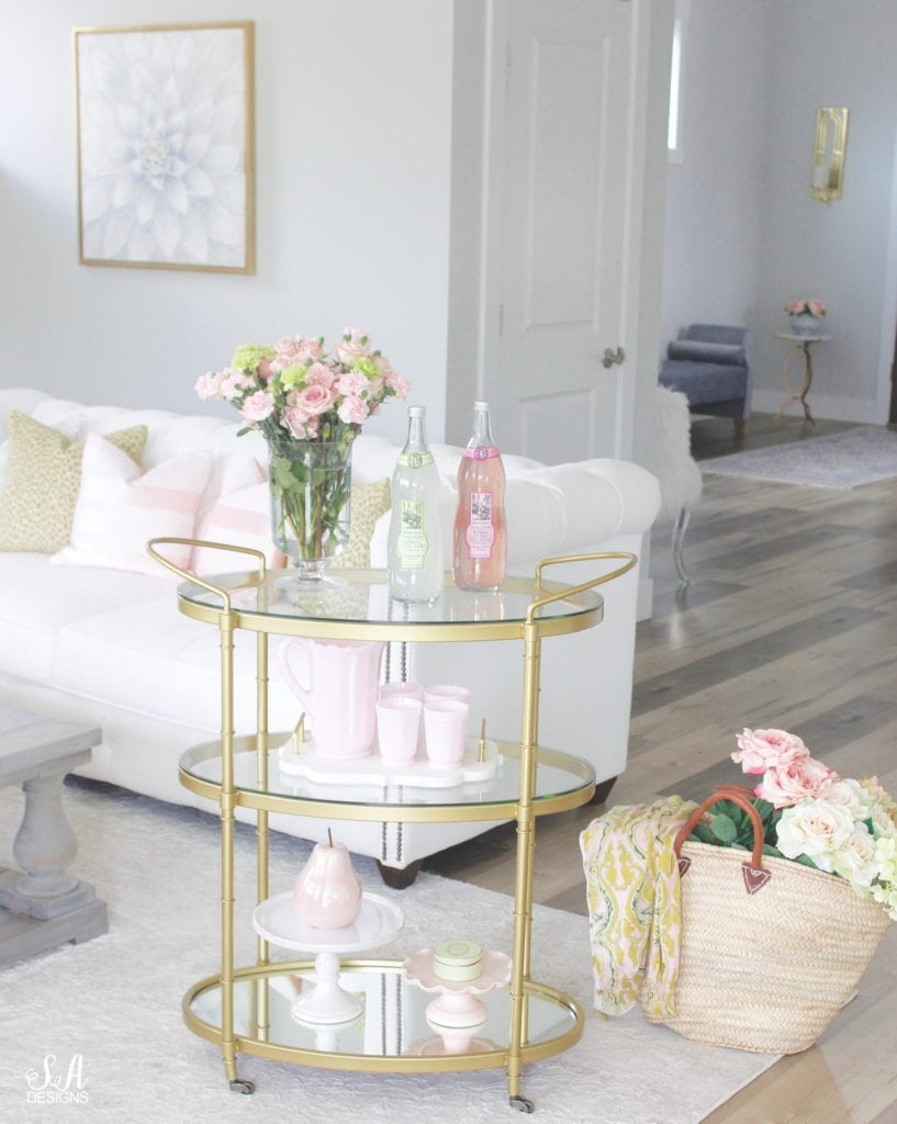 blush pink and green spring decor, spring bar cart for the family