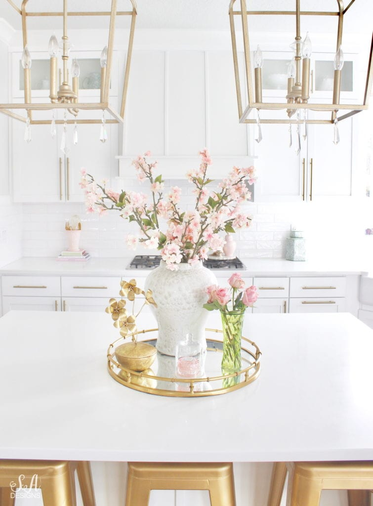 blush pink and green spring decor, spring kitchen decor, the best faux and fresh floral, white kitchen, classy white kitchen, classy interiors brass hardware, elegant white kitchen, elegant kitchen, blogger kitchen, gold brass hardware, gold brass barstools, ginger jar
