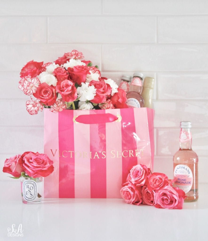 repurposed victoria secret shopping bag, victorias secret shopping bag with flowers