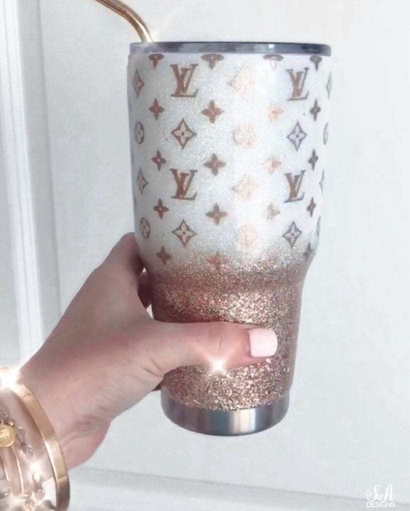 Louis vuitton glitter yeti tumbler coffee cup
