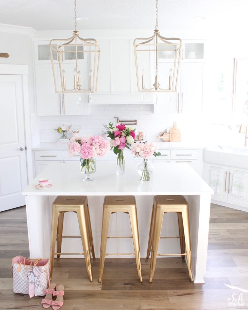 pink peonies summer adams white kitchen design