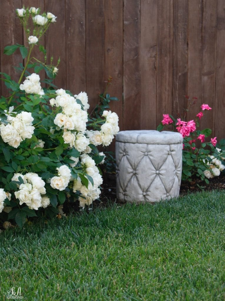 rose garden cement tufted stool