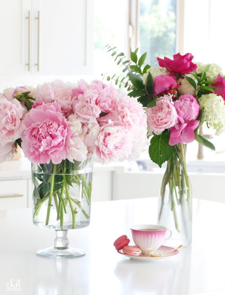 pink peonies, pink teacup, pink macarons