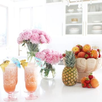 Frozen Peach Pineapple Strawberry Virgin Bellini