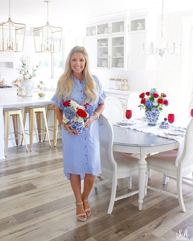 Rachel Parcell collection dress, blue and white striped shirt dress ruffle sleeve, summer Adams fashion, style fashion blogger summer Adams, patriotic fashion, patriotic apparel, fourth of July dress apparel fashion, fourth of July church dress Sunday dress
