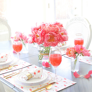 Summer Tablescape With Coral Peonies And Flamingo Linens