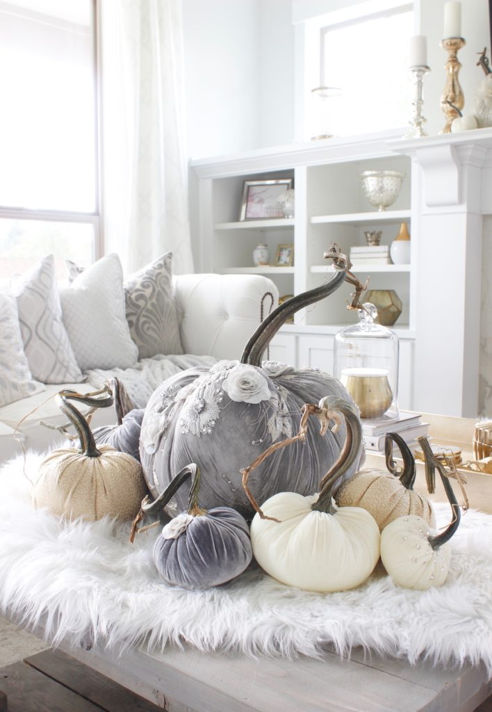 Hot Skwash Velvet Pumpkins, Fall decor, glam fall decor, classy fall decor, elegant fall decor, neutral fall decor, custom velvet handmade pumpkins, gray and gold living room, gray and gold fall decor, grey and gold fall glam elegant classy living room, gold tray, turned legs coffee table, Crystorama calypso vibrant gold chandelier