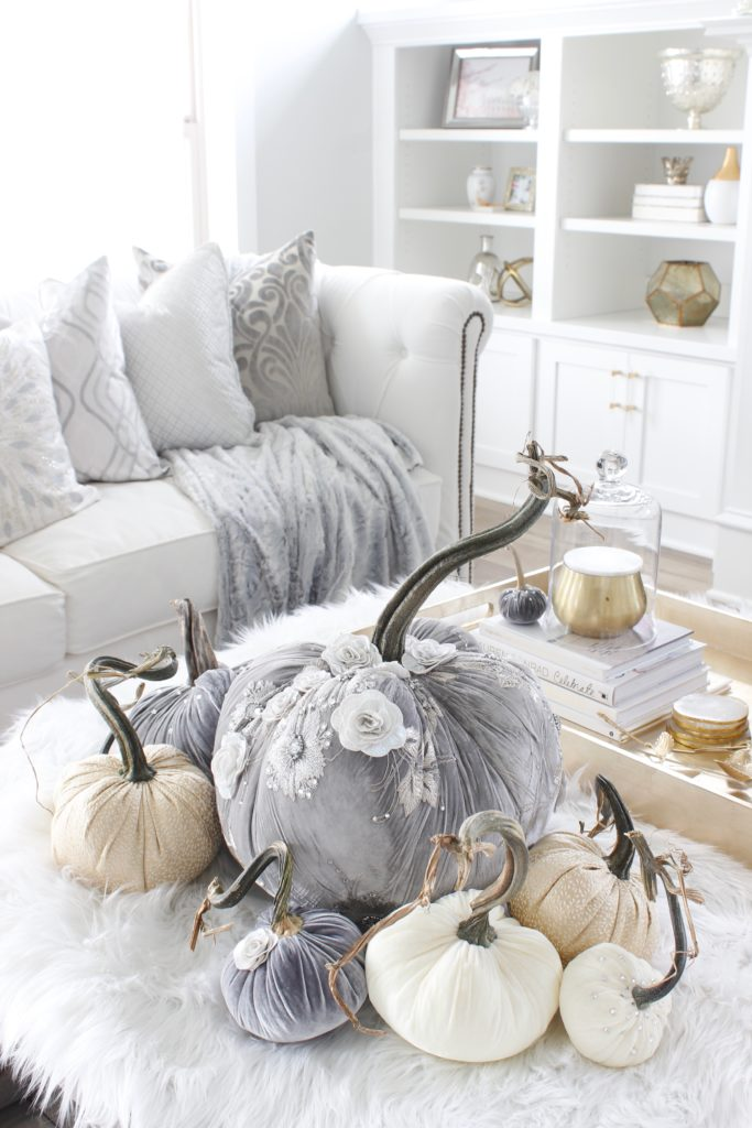 Hot Skwash Velvet Pumpkins, Fall decor, glam fall decor, classy fall decor, elegant fall decor, neutral fall decor, custom velvet handmade pumpkins, gray and gold living room, gray and gold fall decor, grey and gold fall glam elegant classy living room decor