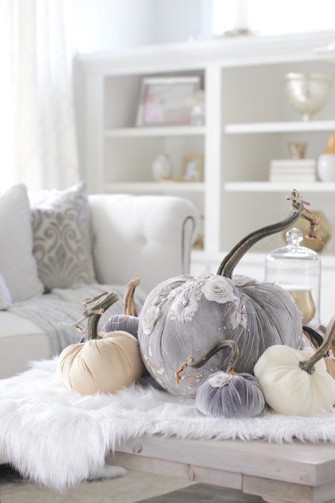 Hot Skwash Velvet Pumpkins, Fall decor, glam fall decor, classy fall decor, elegant fall decor, neutral fall decor, custom velvet handmade pumpkins, gray and gold living room, gray and gold fall decor, grey and gold fall glam elegant classy living room