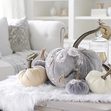Elegant Fall Mantel & Living Room In Gray & Gold