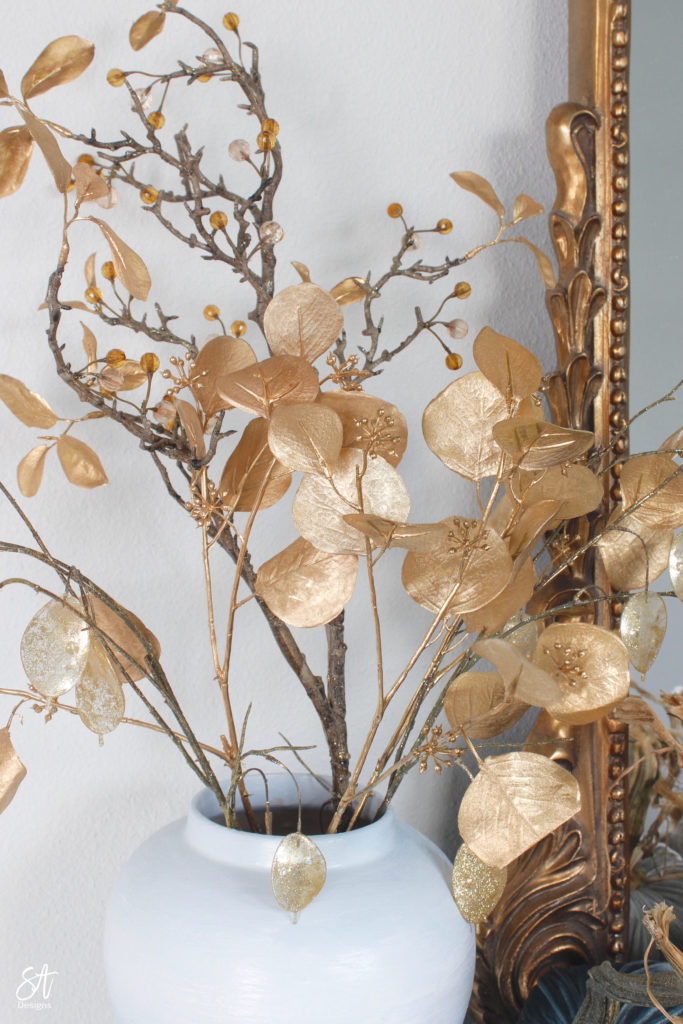 camel moto jacket, target leopard tank top, hot skwash velvet pumpkins, fall decor, glam fall decor, fall entry decor, Anthropologie gleaming primrose mirror, chinoiserie hand painted panels, chinoiserie wallpaper, pier1 gold eucalyptus stems branches, fall staircase decor, blogger fall home decor