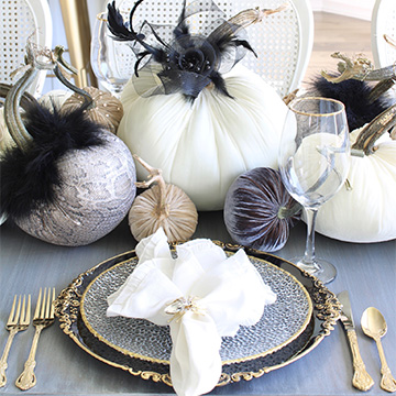 Elegant Halloween Table With Snakeskin Print & Velvet Pumpkins