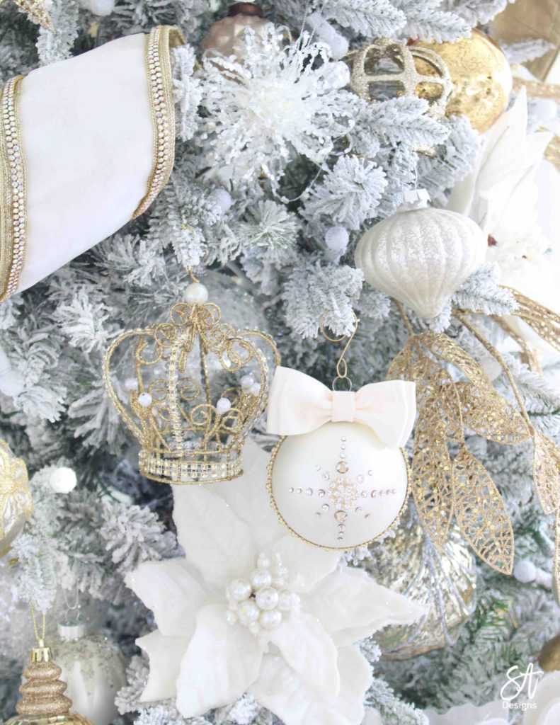 rhinestone bow diy ornament, girlie girly bow ornament, wedding ornament, Christmas rhinestones ornaments, Christmas decorations, glam Christmas decorations, elegant Christmas decor, classy Christmas decor, ivory bling ornaments, ivory ornate Christmas decor diy