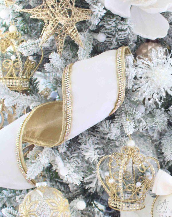 """D.Stevens white and gold rhinestone 4"""" white velvet wired ribbon"""