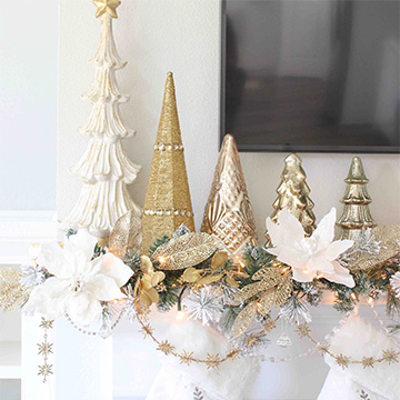 Glam White & Gold Living Room Christmas Tree & Mantel