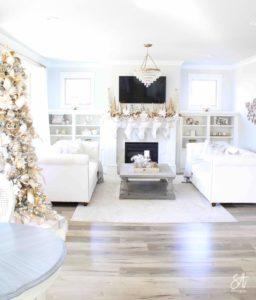 white and gold elegant glam Christmas decor