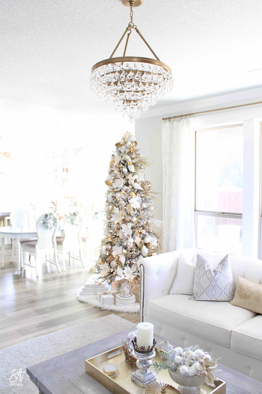 Glam White Gold Living Room Christmas Tree Mantel7 Summer Adams