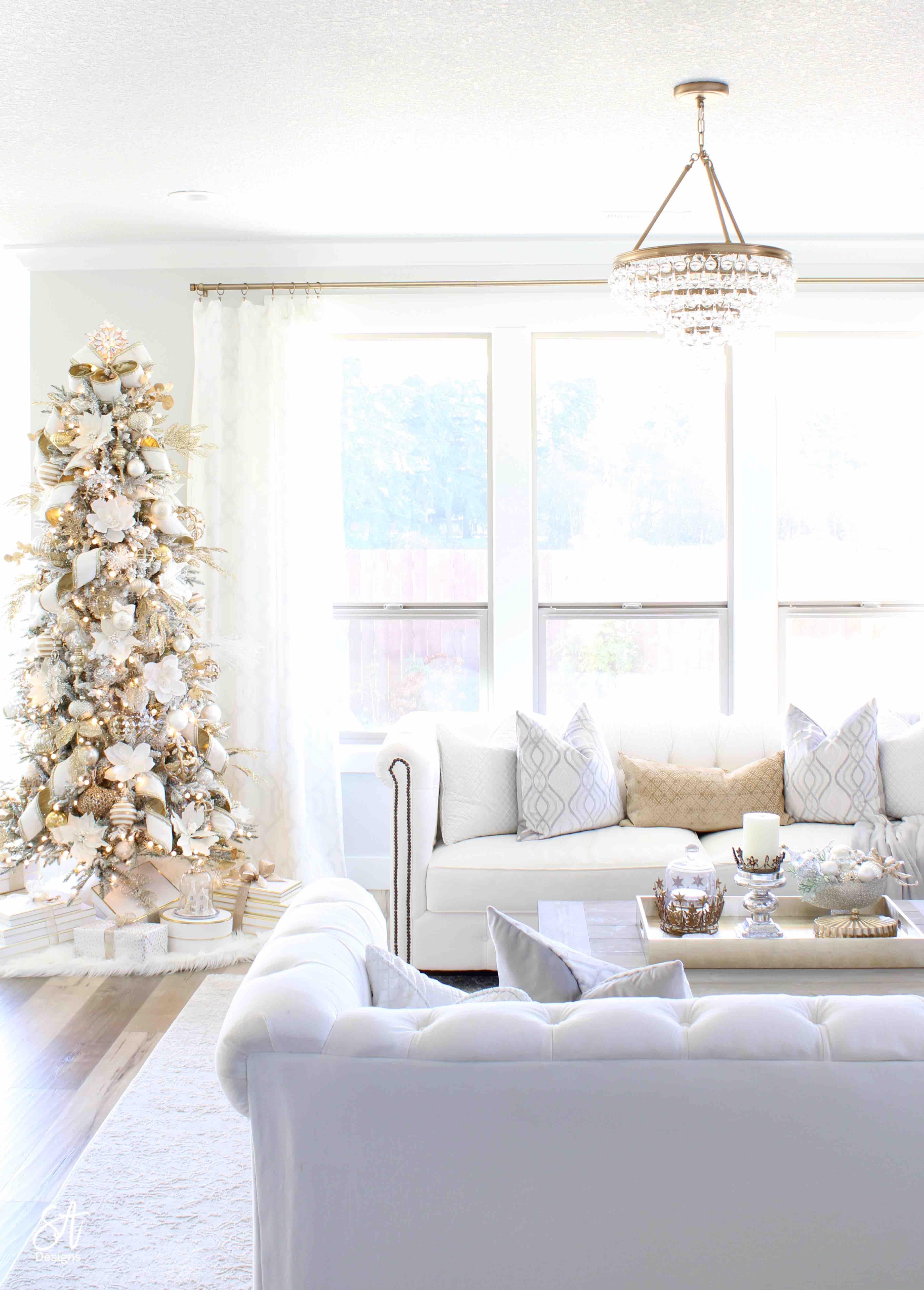 Glam White Gold Living Room Christmas Tree Mantel8 Summer Adams