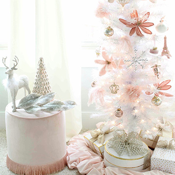 Blush Pink Christmas Master Bedroom