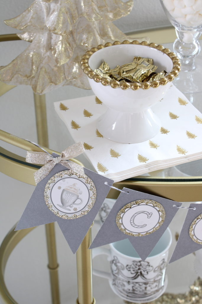 White and gold Christmas hot cocoa bar cart
