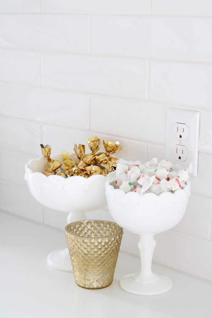Christmas candy, milk glass pedestal bowls