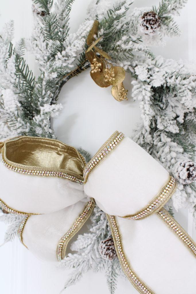 white flocked Christmas wreath, d. Stevens white velvet ribbon wired rhinestone edging Christmas specialty ribbon