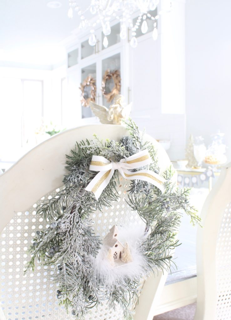 chair backers, wreath for back of chairs, Christmas chair wreaths
