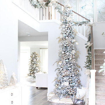 Elegant Christmas Entry In Champagne & Spa Blue