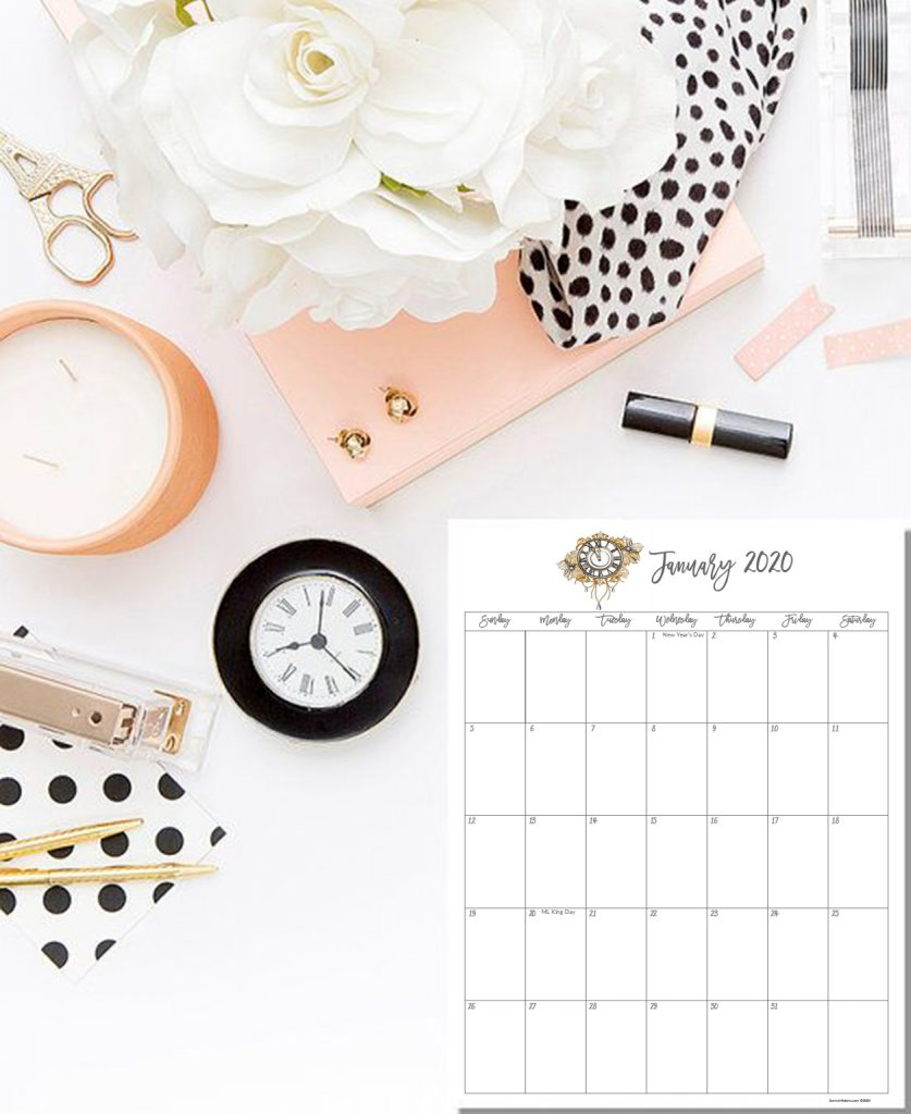 2020 free stylish calendar, fashion calendar 2020, printable calendars, pink calendars, girly calendars, glam calendars, chic calendars, elegant calendars