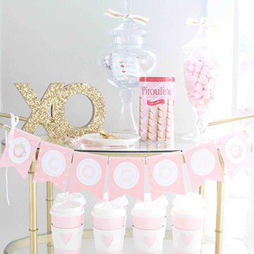 Valentine's Day DIY Hot Cocoa Bar & Candy Bar Pennant Banners