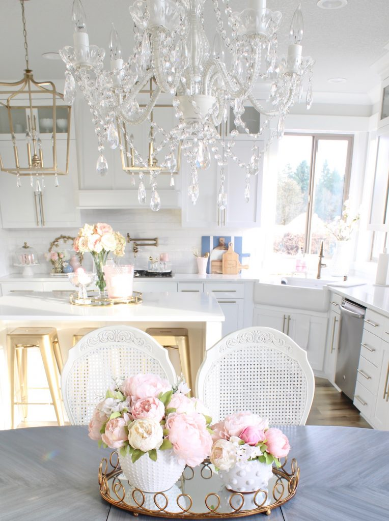 the best faux florals, best faux peonies, faux pink peonies, prettiest pink peonies, white hobnail vase planter pot, gold mirrored tray
