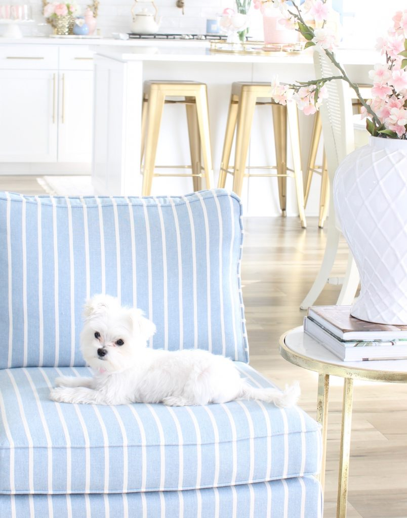 Caitlin Wilson pillows, crystorama chandelier, calypso chandelier, blue and white striped slipper chair, white tufted sofa, spring decorating tips, how to decorate your home for spring, blogger spring home tour, spring home goals, hgtv spring home design inspiration, gorgeous spring decorating, glam spring decor, elegant spring decor, pink and blue spring decorating tips ideas, cutest Maltese puppy Gracie Girl Adams, Cutest Maltese Dog Puppy