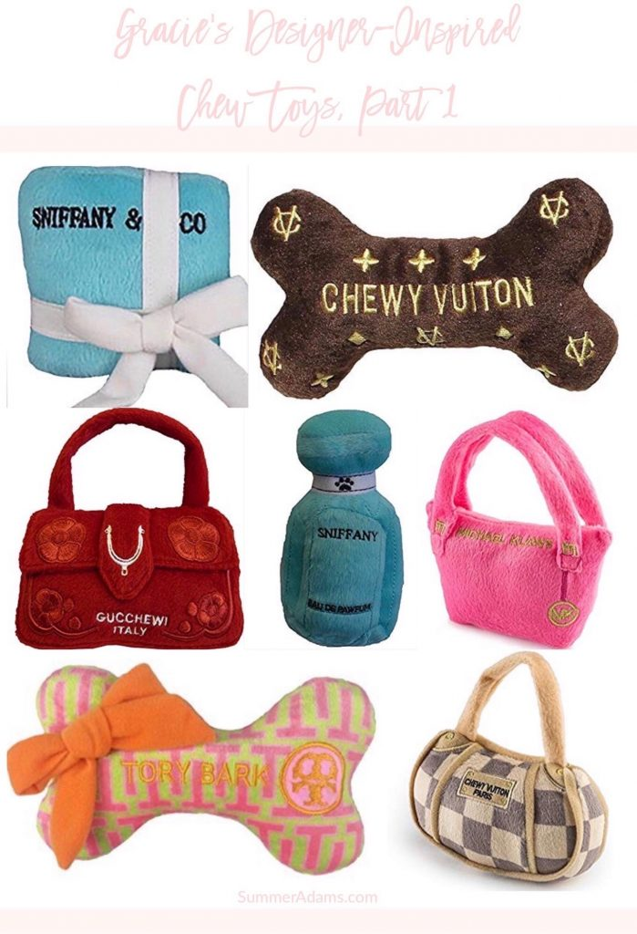 designer inspired girl puppy dog chew toys, zippy paws, Michael klaws, haute diggity dog fashion hound collection, barkbox, amazon dog chew toys plush, chewy vuiton Vuitton, puppy chewnel, sniffany & co, pawbags, jimmy chew, gucchewi, pawda, tory bark