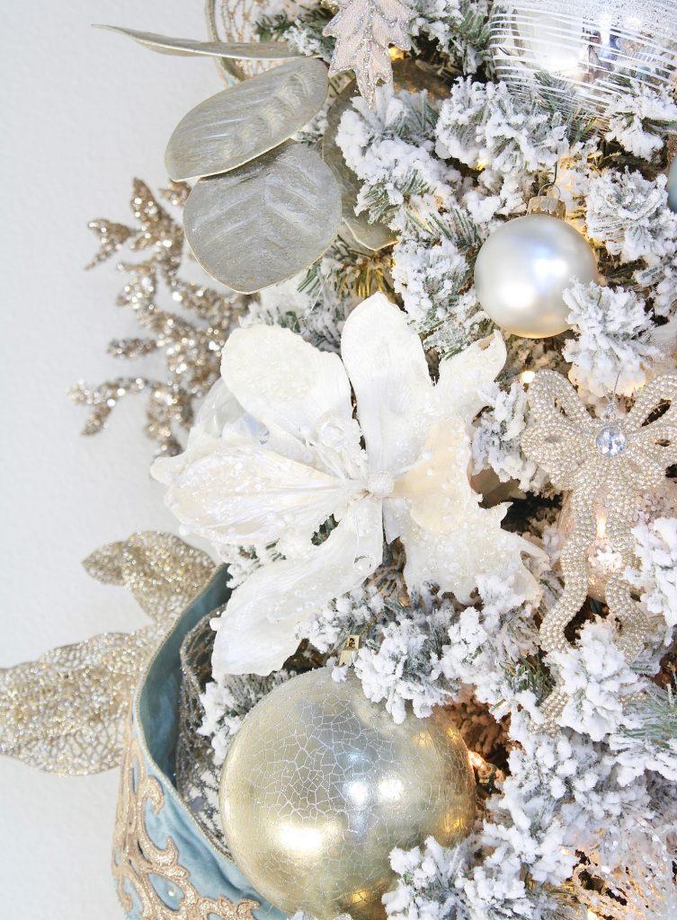 trinity scroll velvet ribbon spa blue wired edge christmas ribbon, flocked christmas tree, glamorous christmas tree decorating tips, white christmas magnolias, decorators warehouse Arlington Texas