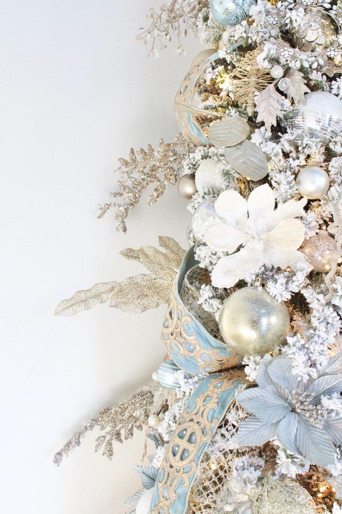 trinity scroll velvet ribbon spa blue wired edge christmas ribbon, flocked christmas tree, glamorous christmas tree decorating tips