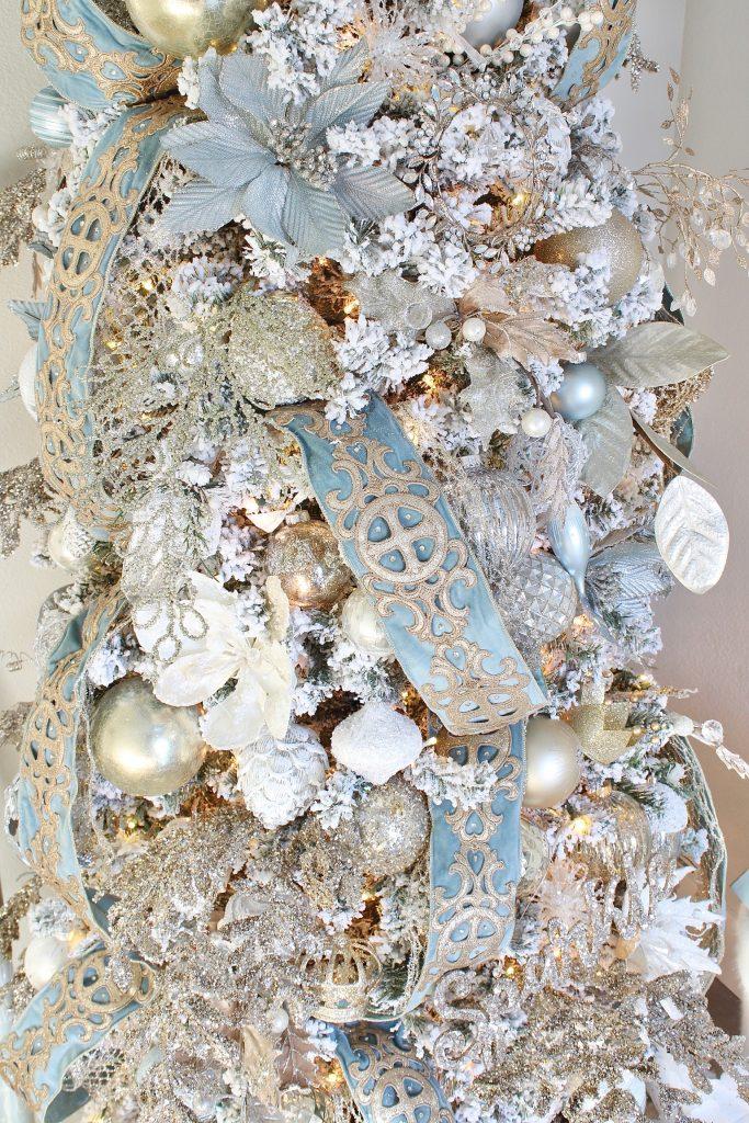 trinity scroll velvet jewel ribbon spa blue wired edge christmas ribbon, flocked christmas tree, glamorous christmas tree decorating tips