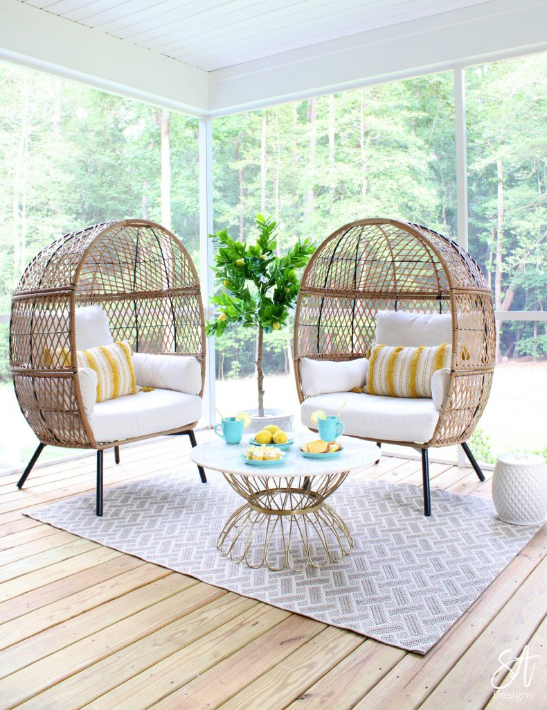 patio furniture, entertaining outdoors, lemons, Walmart, lemon plant, lemon tree, egg chairs, opal house marble round coffee table, rattan furniture, better homes and gardens furniture, hangout spot for teens, trendy furniture, South Carolina blogger