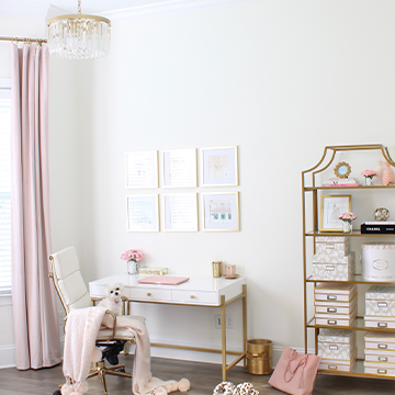 Glam Modern Home Office With Blush Accents