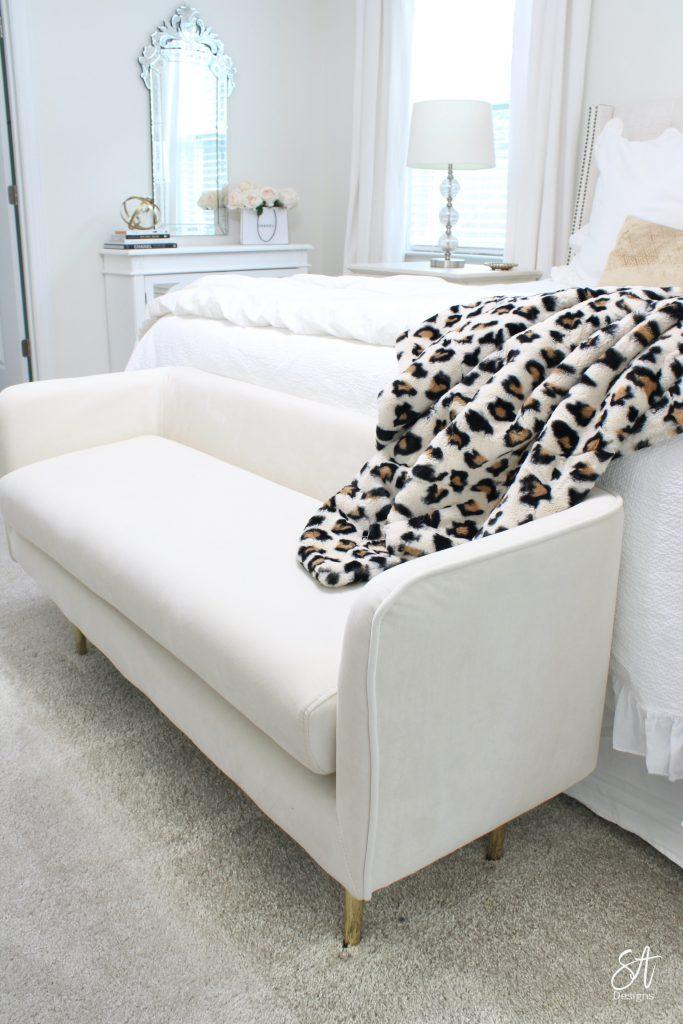glam white velvet bench gold legs, glam bedroom decor, white and gold decor, leopard minky throw blanket