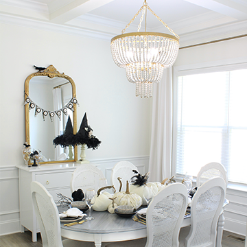 Black & White Halloween Table With Affordable Dinnerware